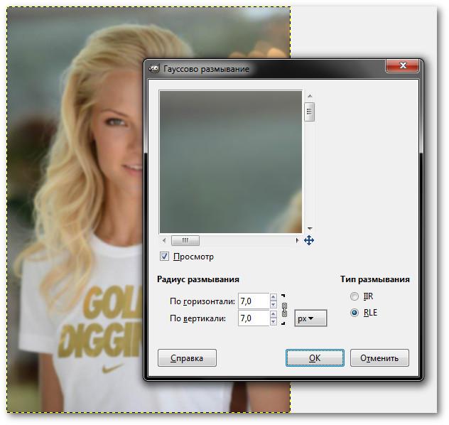 Как сделать размытое фото в gimp